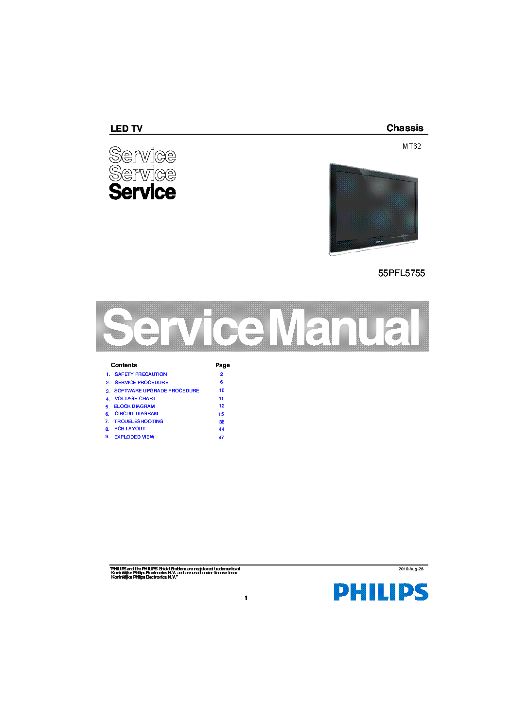 PHILIPS 55PFL5755 V7 DFU ENG service manual