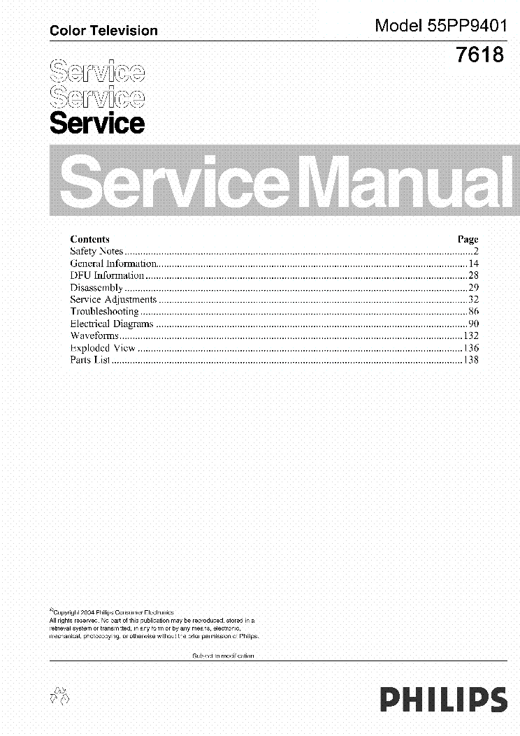 PHILIPS 55PP9401 service manual