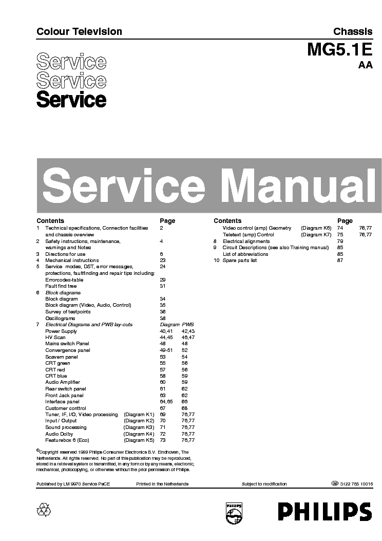 PHILIPS 55PP950112 CHASSIS MG5.1E AA service manual