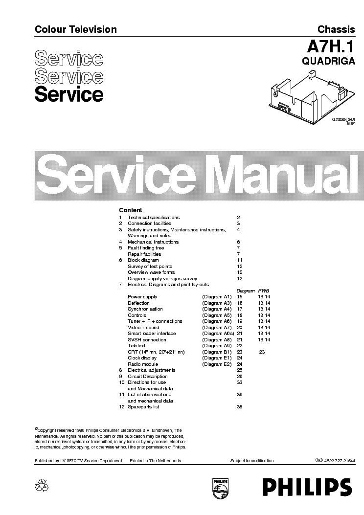 Philips A7h 1 Quadriga Chassis Service Manual Download  Schematics  Eeprom  Repair Info For