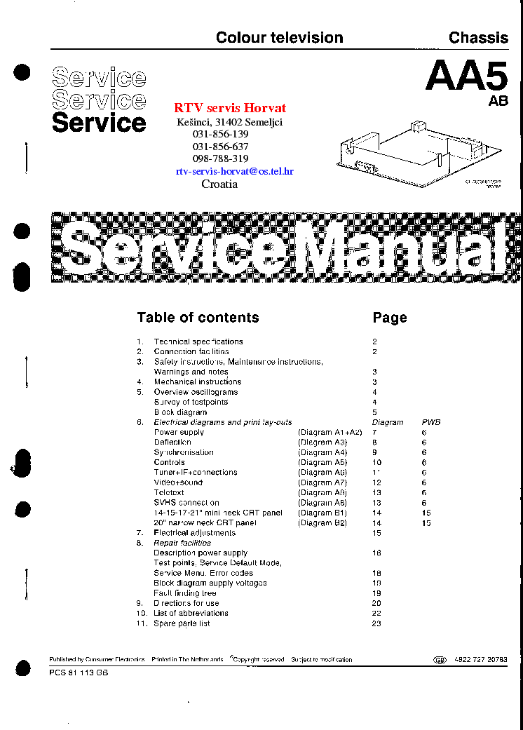 PHILIPS AA5-AB CHASSIS SM service manual (2nd page)