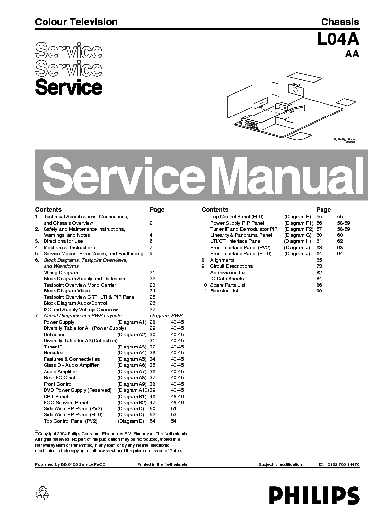 PHILIPS CH L04A AA SM service manual (1st page)