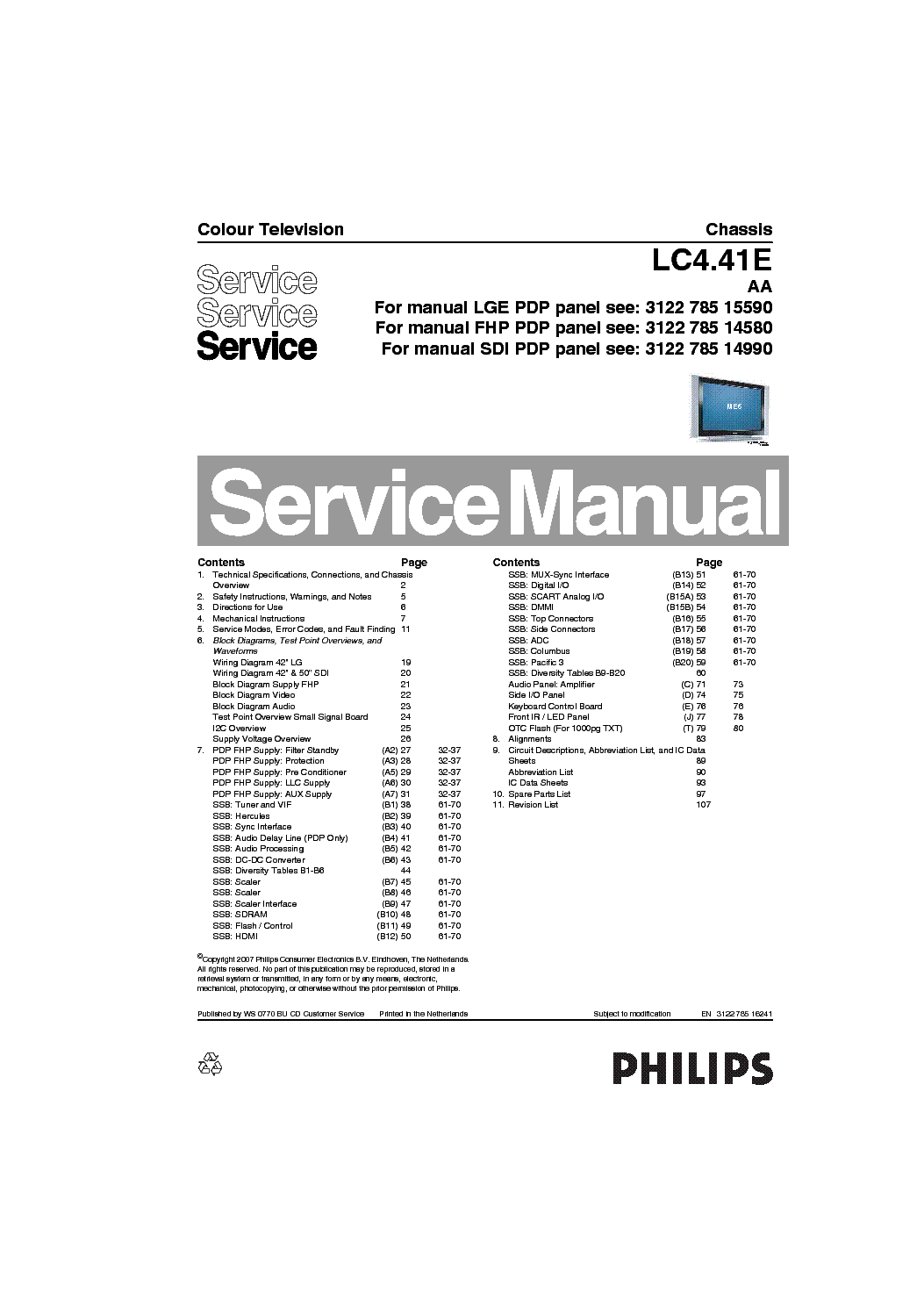 PHILIPS CHASSIS-LC4.41E-AA SM service manual (1st page)