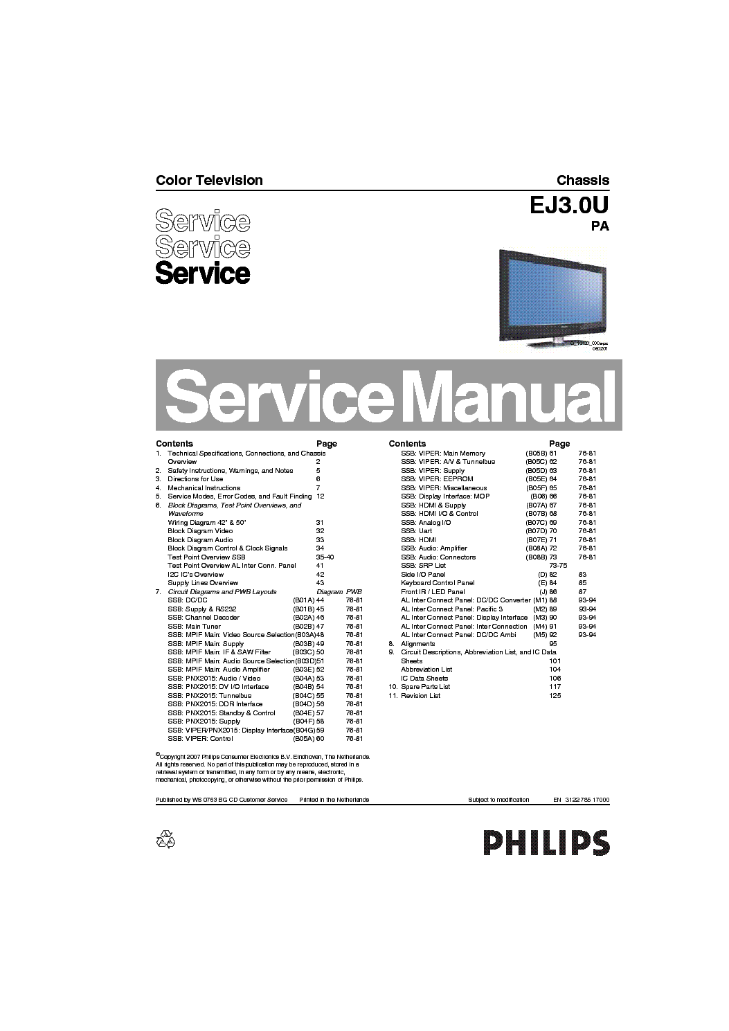 PHILIPS CHASSIS EJ3.0U-PA SM service manual (1st page)