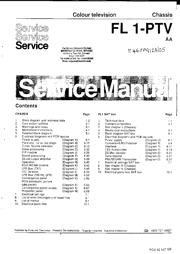philips chassis fl1 ptv sm service manual download, schematics
