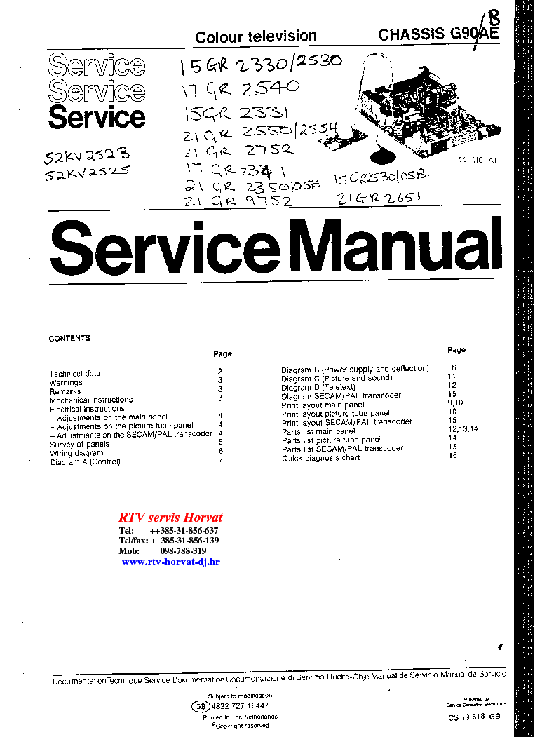 PHILIPS CHIS G90-AE Service Manual download, schematics ... on