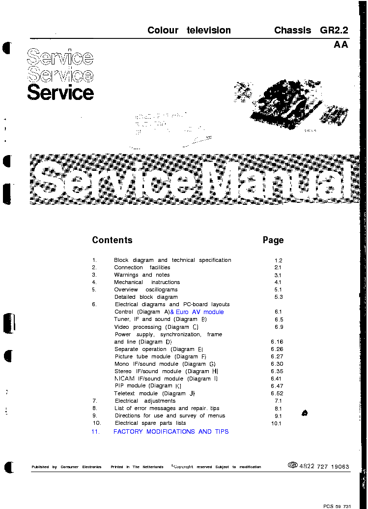 PHILIPS CHASSIS GR2.2AA service manual (1st page)