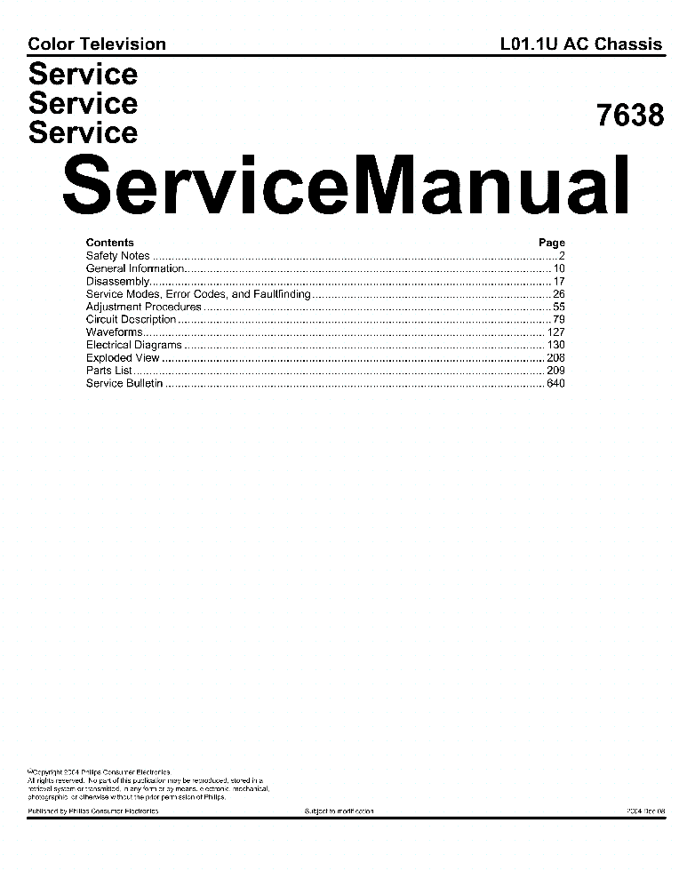 PHILIPS CHASSIS L01.1U-AC 7638 service manual (1st page)