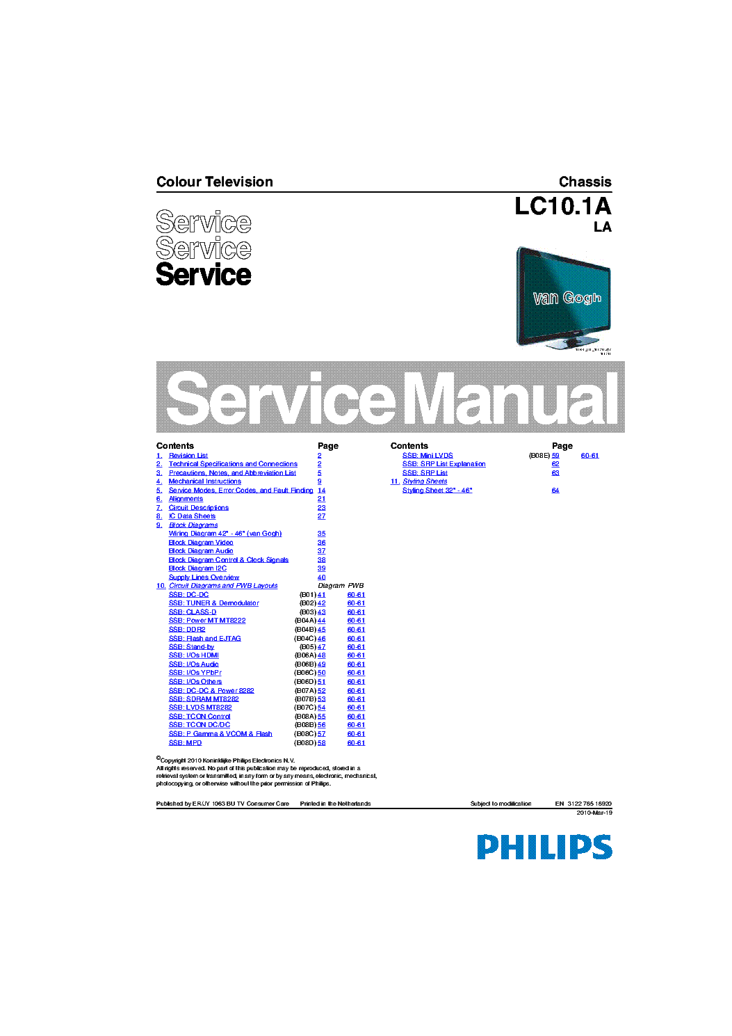 PHILIPS CHASSIS LC10.1A LA 2010-03-19 SM service manual (1st