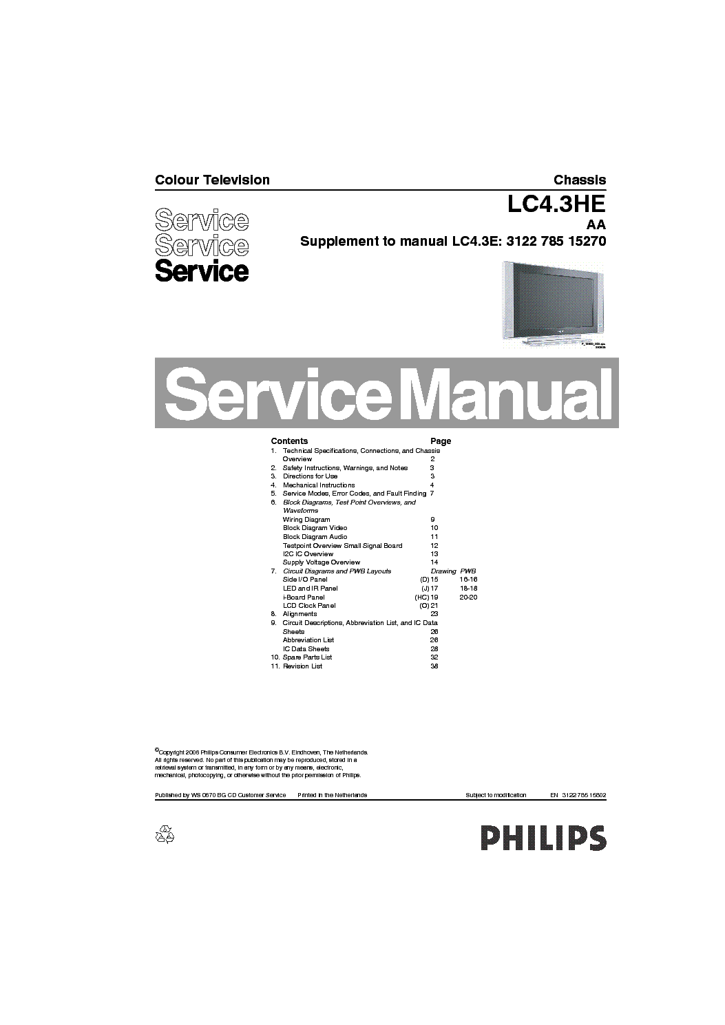 PHILIPS CHASSIS LC4.3HE-AA service manual (1st page)