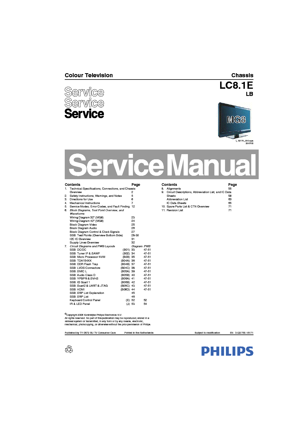 PHILIPS CHASSIS LC8.1E LB service manual (1st page)