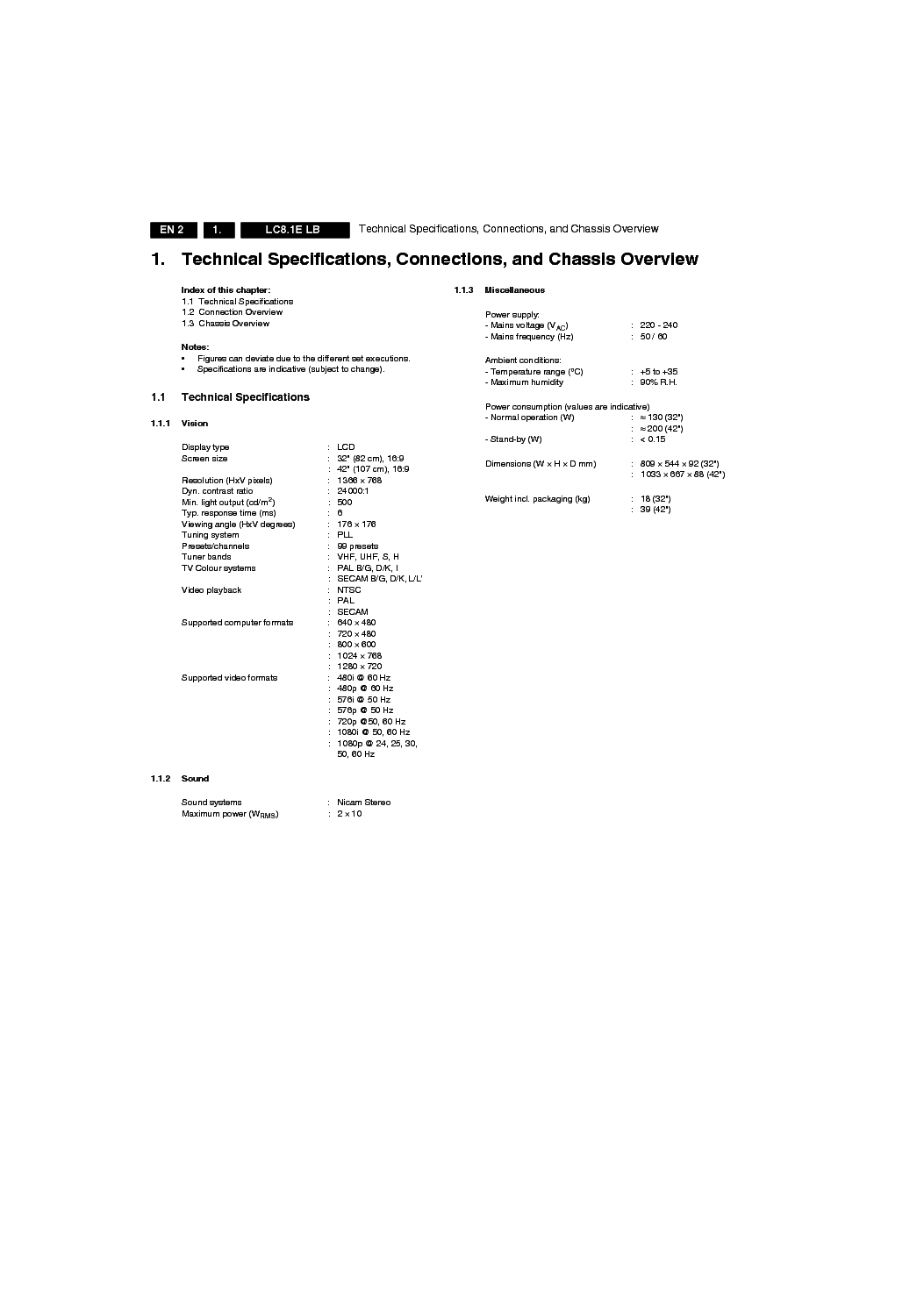 PHILIPS CHASSIS LC8.1E LB service manual (2nd page)