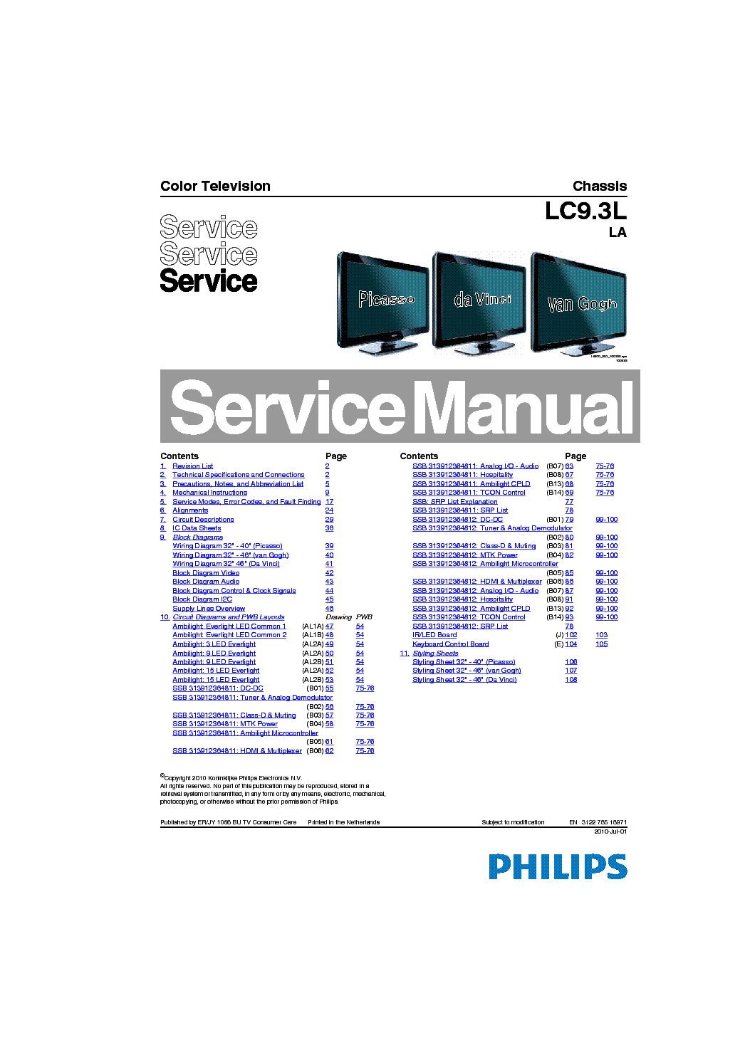 PHILIPS CHASSIS LC9.3LLA 312278518971 service manual (1st page)