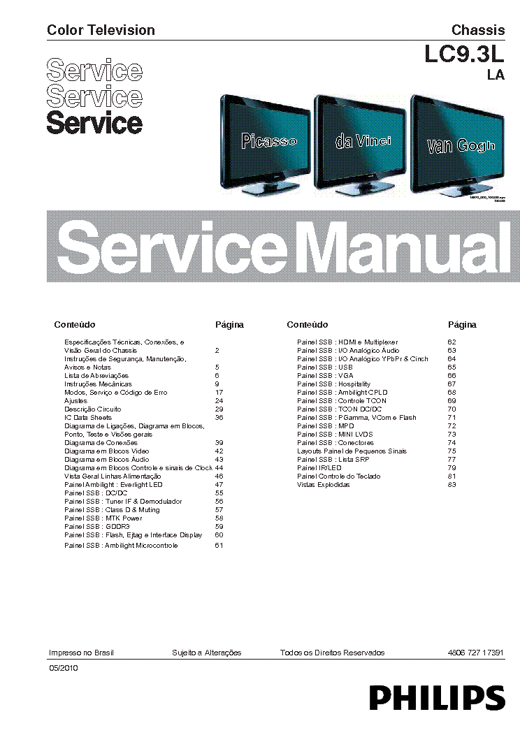 PHILIPS CHASSIS LC9 3LLA 40PFL6605D BRASIL Service Manual download