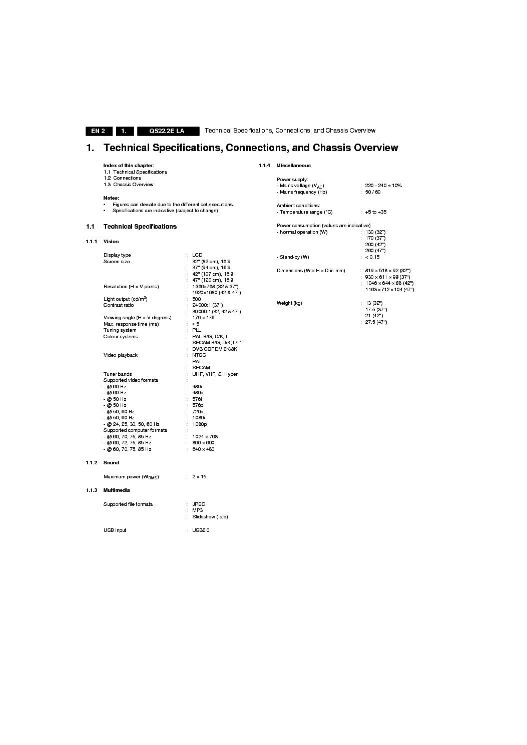 PHILIPS CHASSIS Q522 2E LA Service Manual download