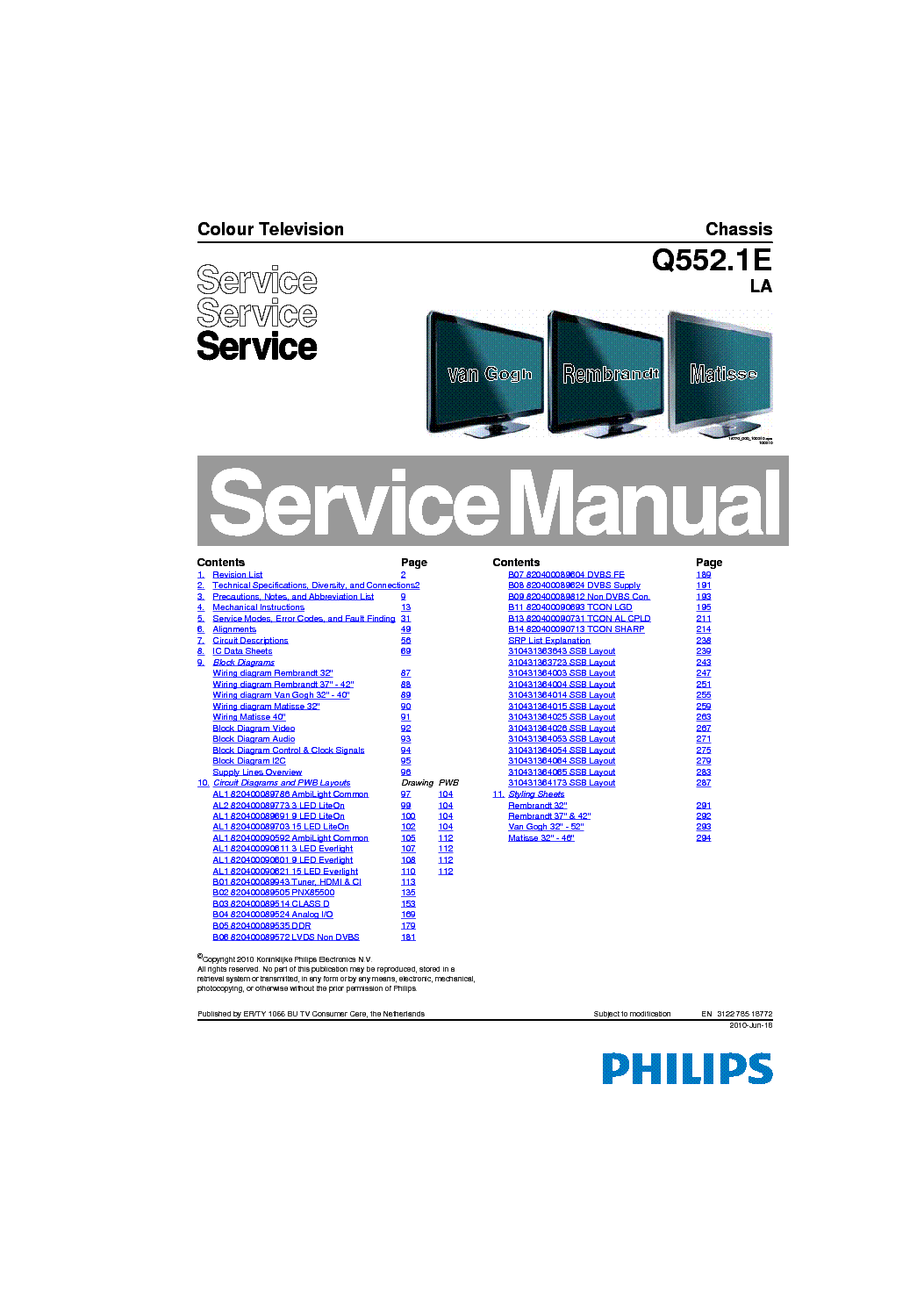 PHILIPS CHASSIS Q552.1E-LA service manual