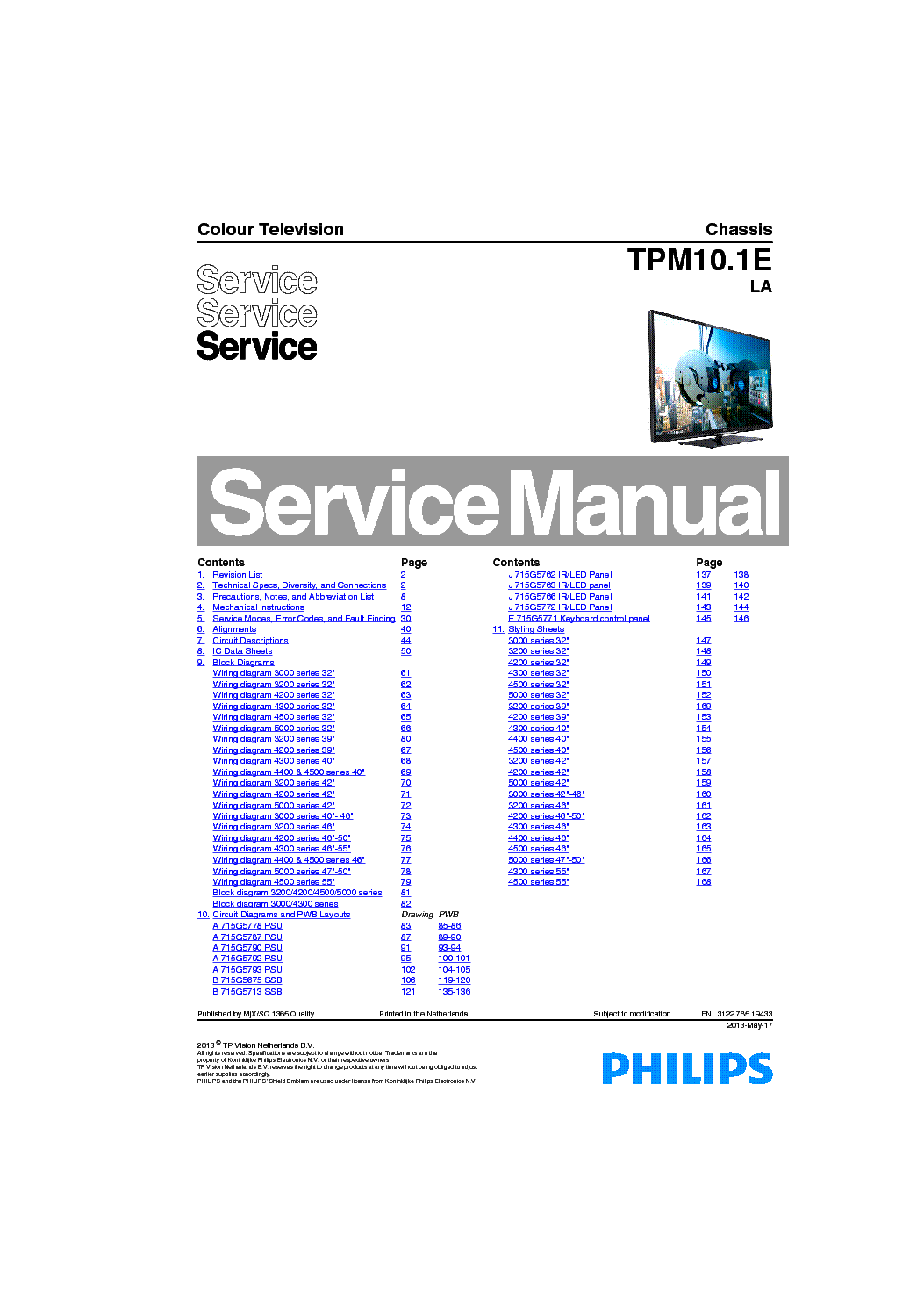 PHILIPS CHASSIS TPM10 1E LA service manual (1st page)