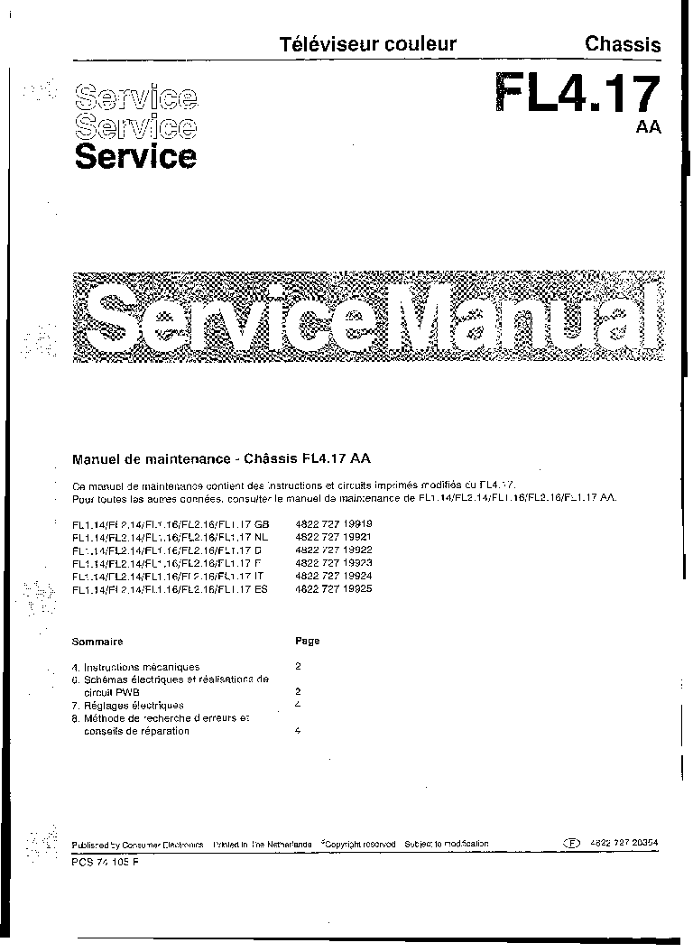 philips fl4 17 aa chassis 2 service manual download, schematicsphilips fl4 17 aa chassis 2 service manual (1st page) preview