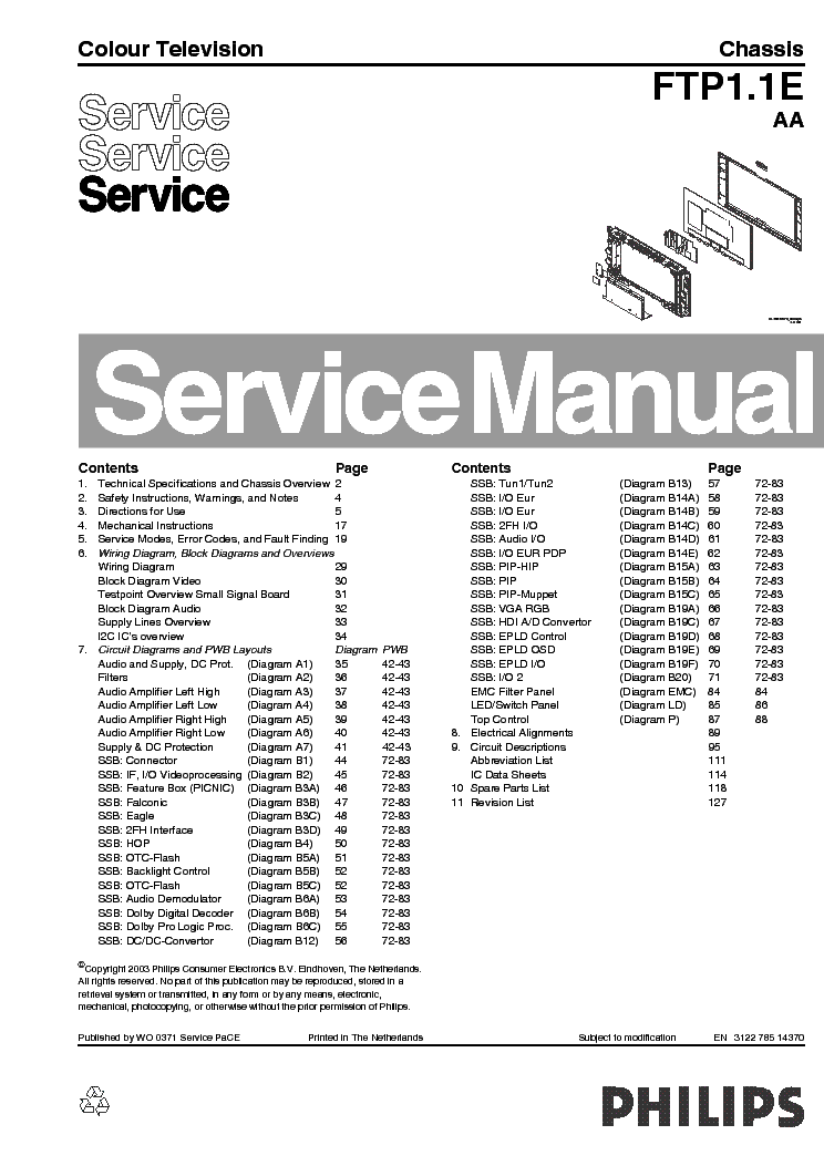 PHILIPS FTP1.1E AA CHASSIS PLASMA TV SM service manual (1st page)
