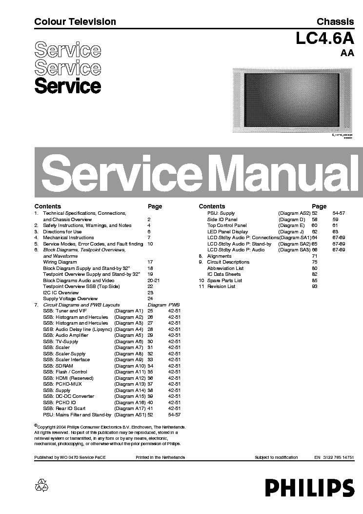 PHILIPS LC4.6AAA 312278514751 service manual (1st page)