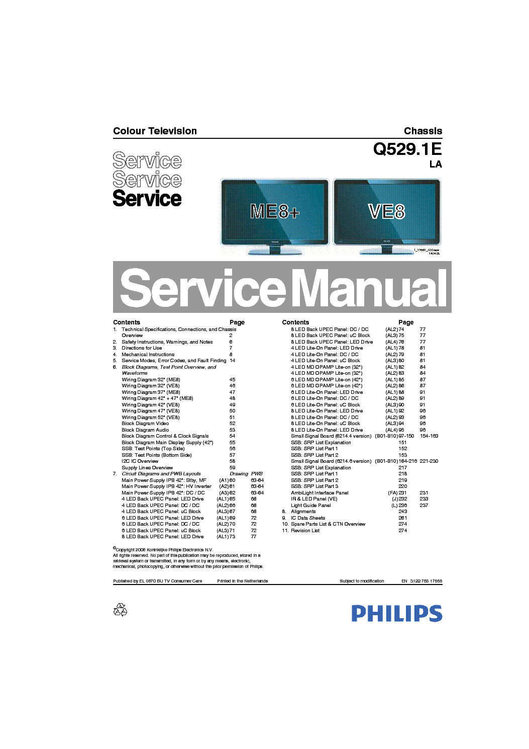 PHILIPS Q529.1ELA 312278517666 service manual (1st page)