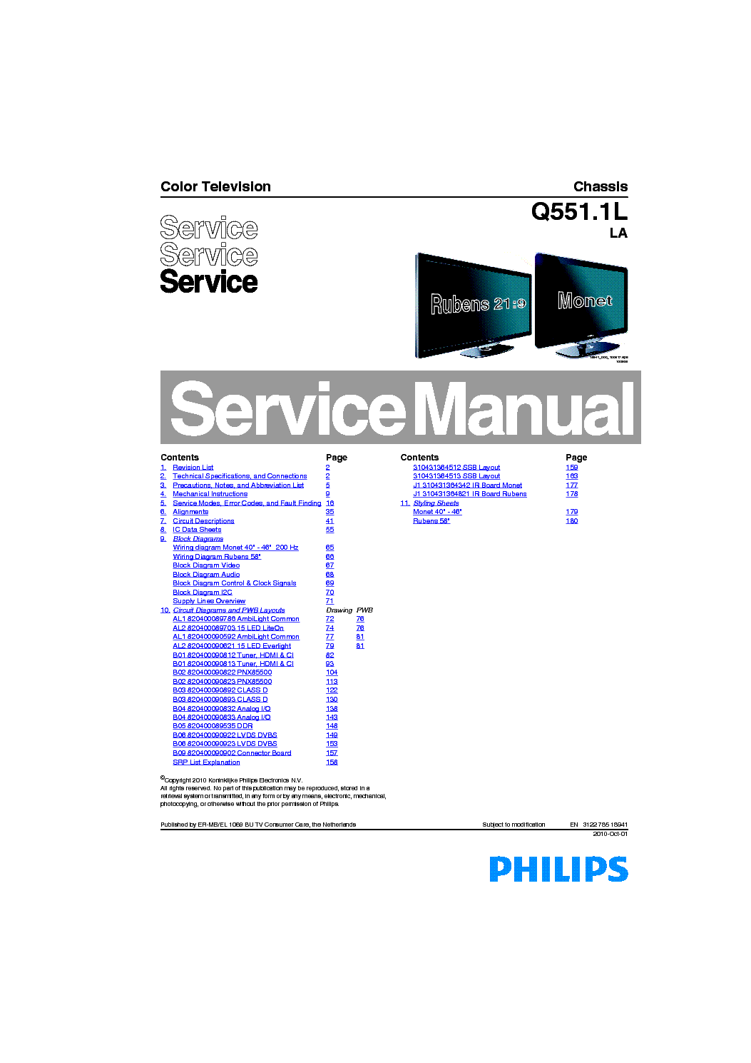 PHILIPS Q551.1L LA CHASSIS LCD TV SM service manual