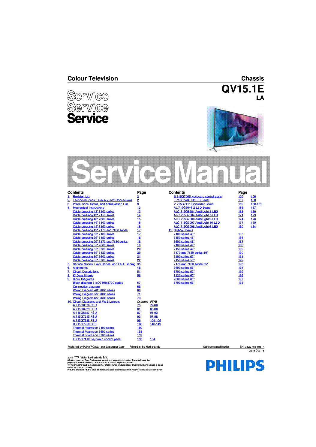 PHILIPS QV15.1ELA 312278519814 CHASSIS service manual (1st page)