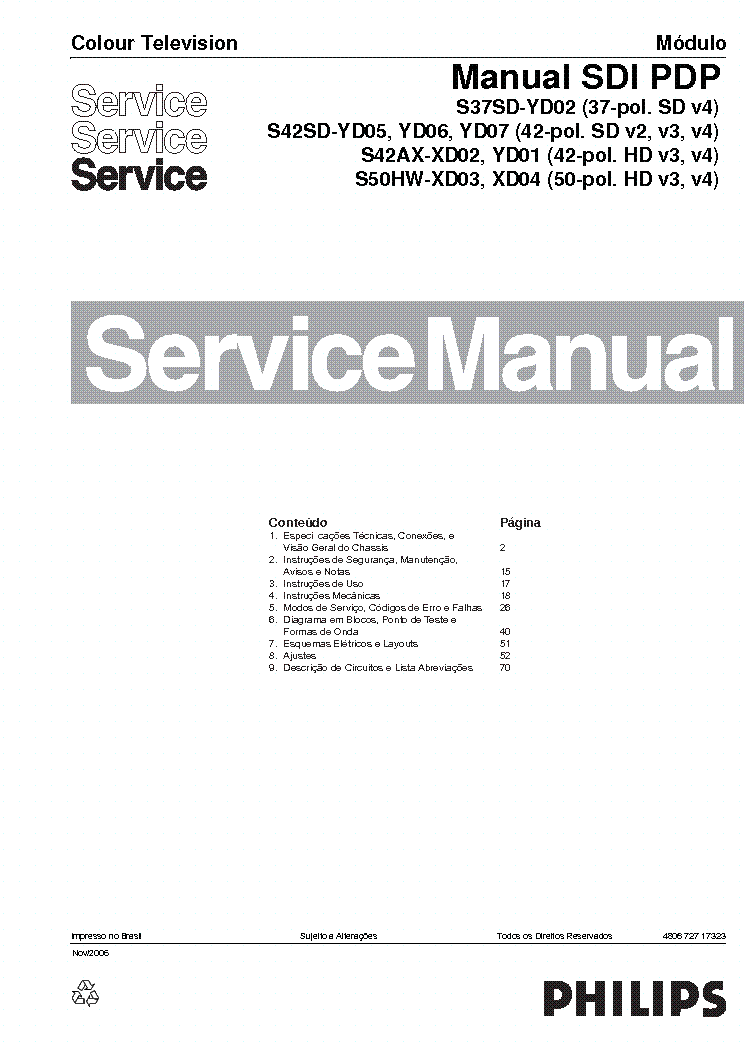 PHILIPS SDI-PDP S37SD-YD02 S42SD-YD05 service manual
