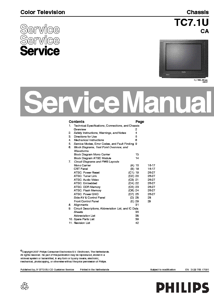 philips ch l01 2a ab service manual free download