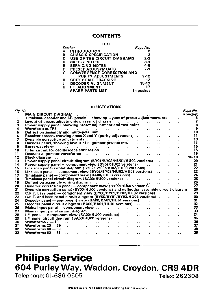 PHILIPS TV G11 CHASSIS SERVICE MANUAL Service Manual