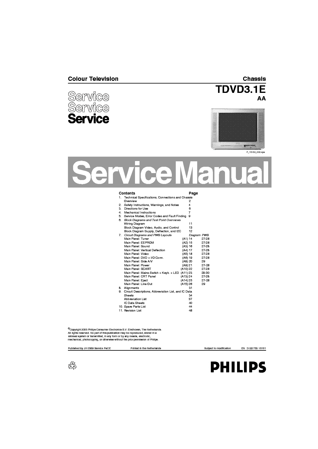 PHILIPS TVD3.1E AA CHASSIS TV DVD service manual (1st page)