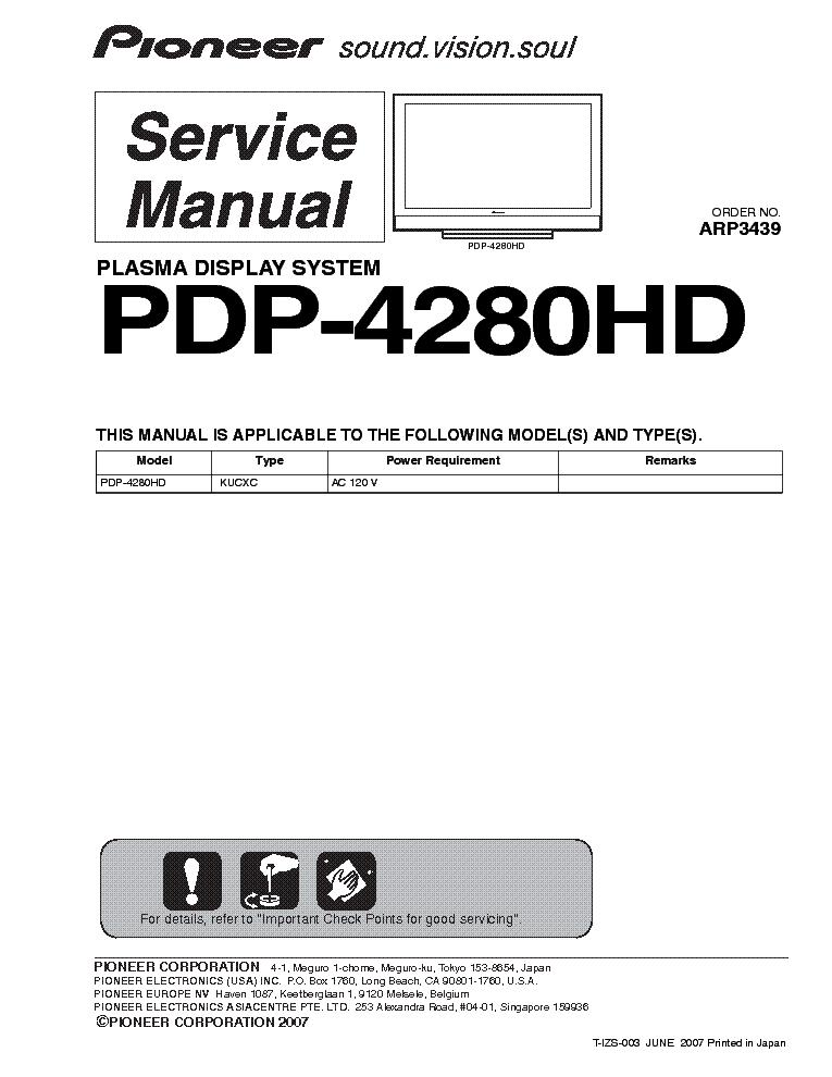 pioneer pdp 4280hd service manual download schematics eeprom rh elektrotanya com Pro-Form 955R Recumbent Bike Manual Pioneer Man Working