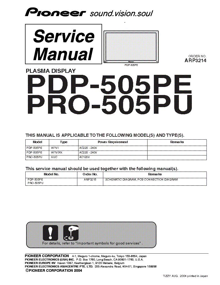 pioneer pdp 505pe pro 505pu sm service manual download schematics rh elektrotanya com Pioneer Man Working pioneer pdp-4280hd service manual