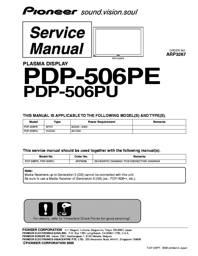 Pioneer Pdp 506pe инструкция - фото 2
