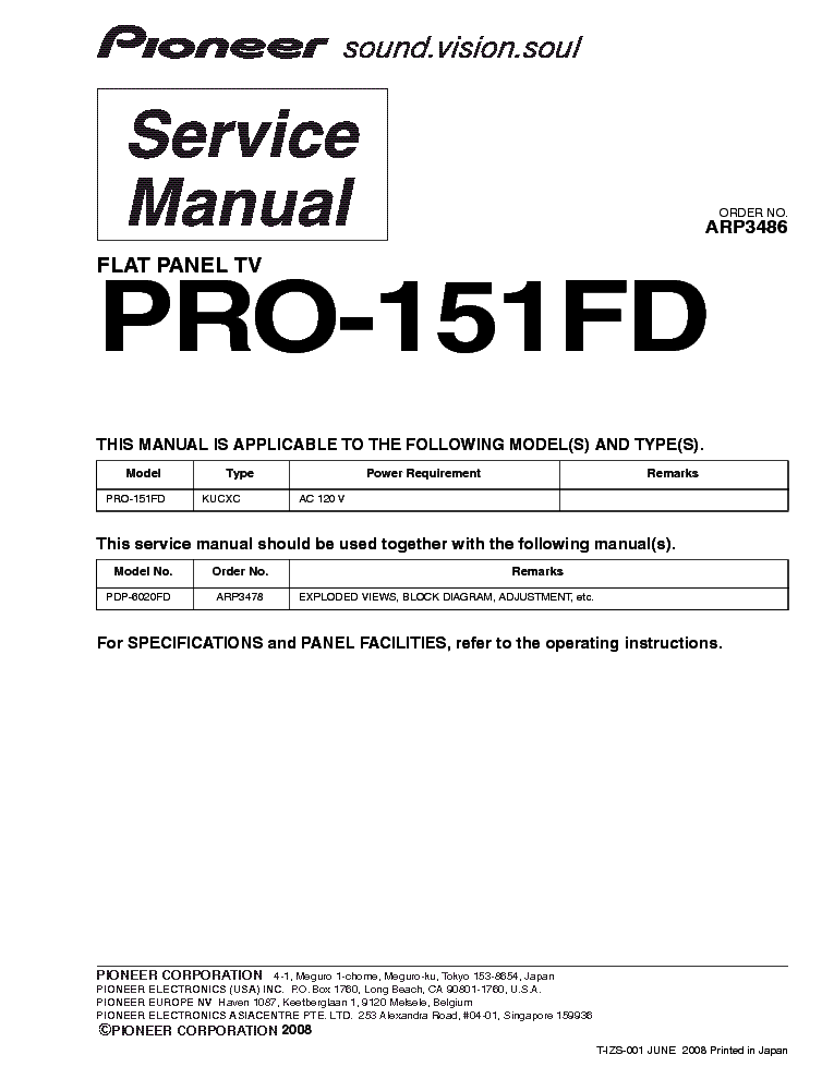 PIONEER PRO-151FD SM service manual (1st page)