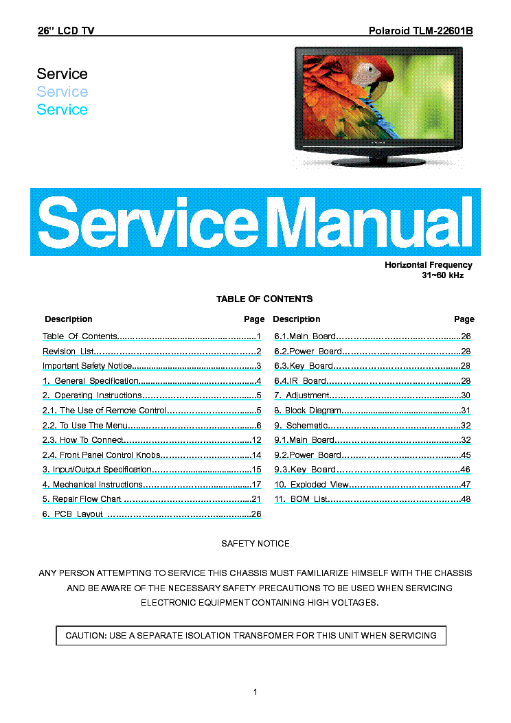 Polaroid tlx-04244b service manual.