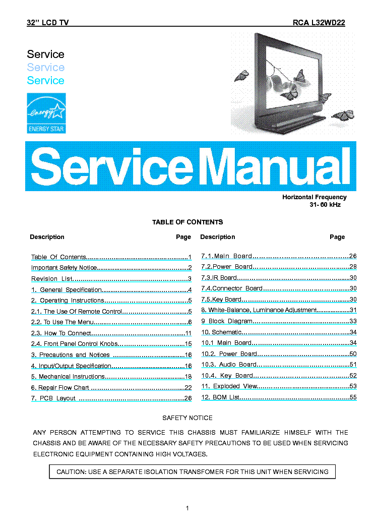 RCA L32WD22 service manual (1st page)