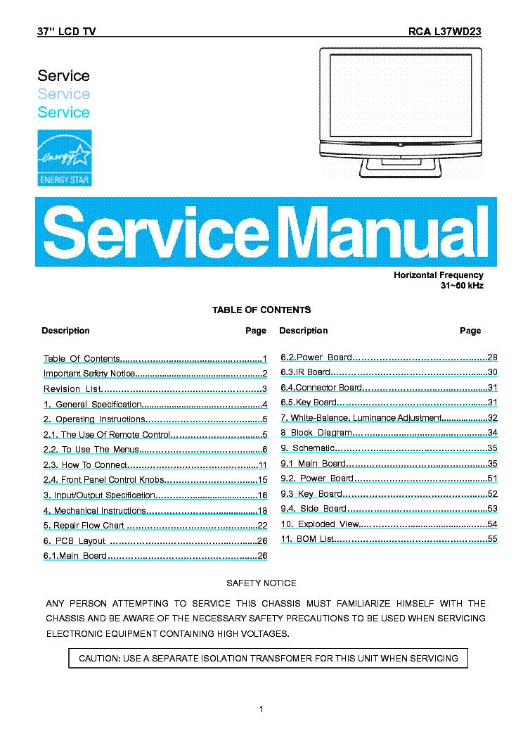 rca l37wd23 lcd tv sm service manual download schematics. Black Bedroom Furniture Sets. Home Design Ideas