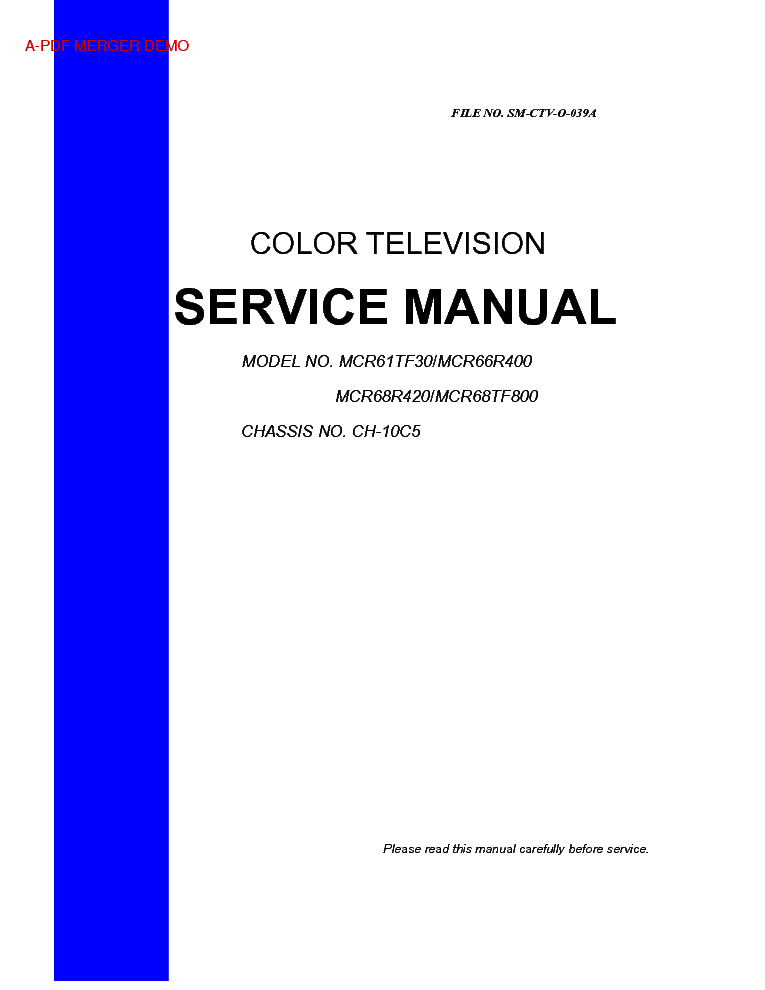 RCA MCR68TF800 CHASSIS CH-10C5 service manual (1st page)