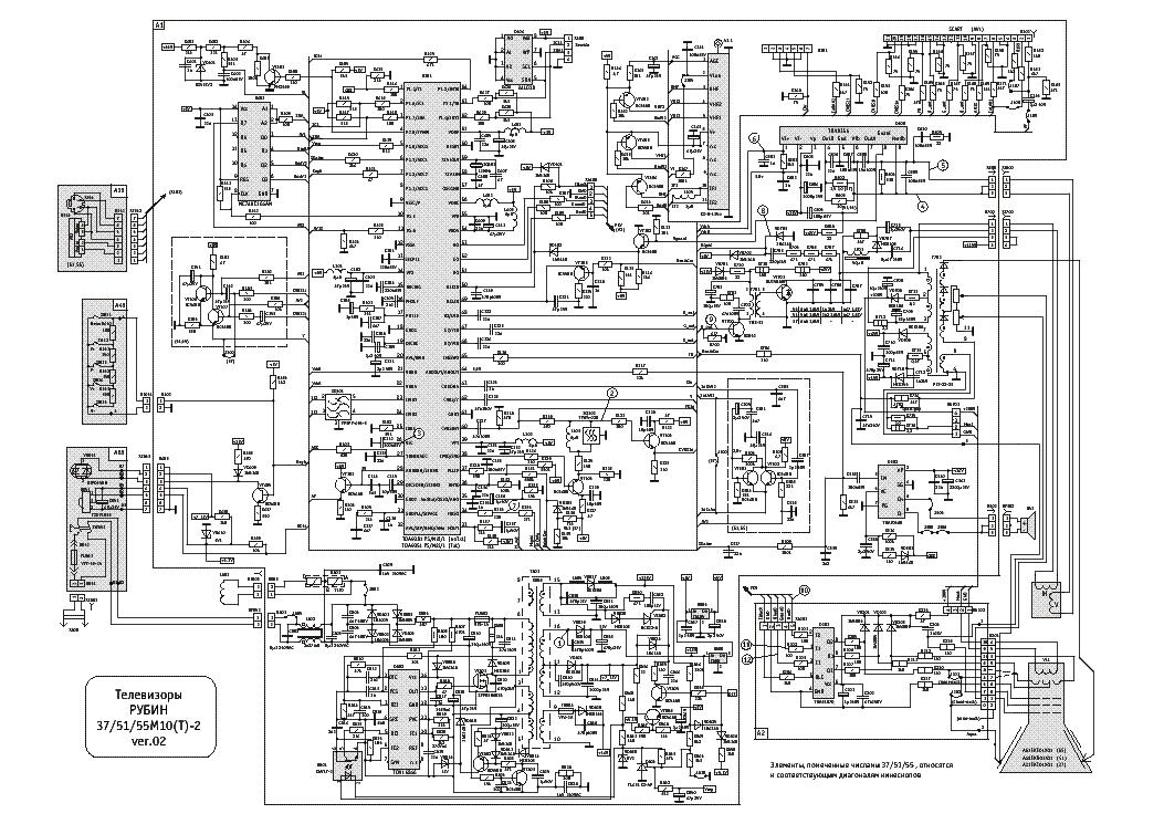 схему телевизора рубин