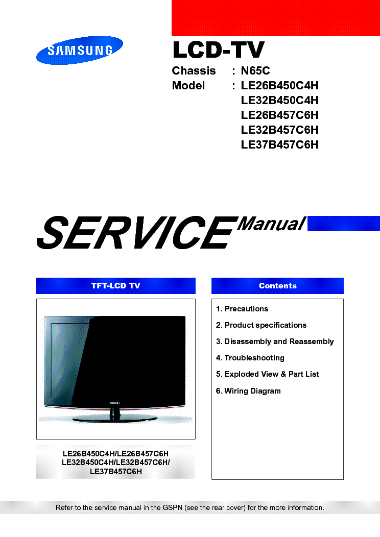 SAMSUNG LE26B450C4H LE32B450C4H LE26B457C6H LE32B457C6H LE37B457C6H CHASSIS N65C service manual
