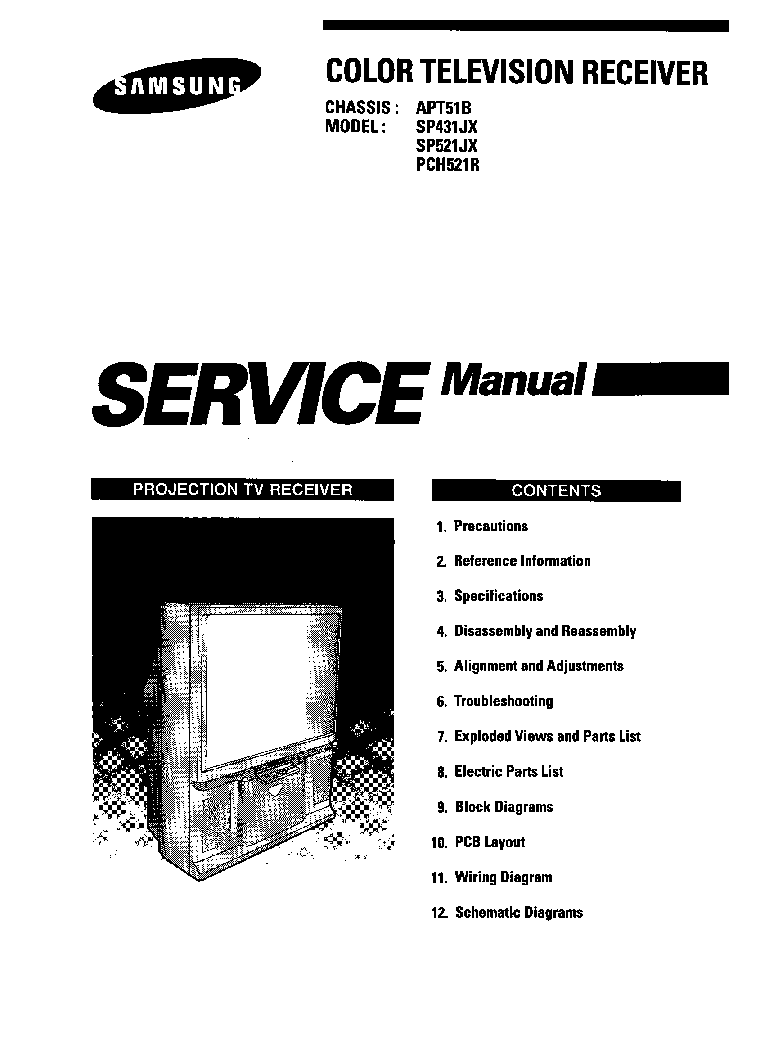 SAMSUNG CHASSIS APT51B SP431JX SP521JX PCH521R PROJECTION service manual (1st page)
