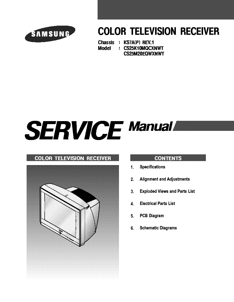 SAMSUNG CS 25K10MQQ CHASSIS KS7A service manual.  Click on the link for free download!