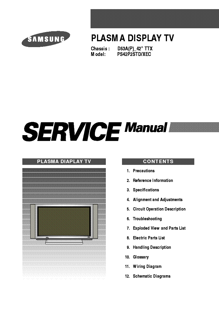 Samsung D53a Chassis Ps42p2std Plasma Tv Sm Service Manual