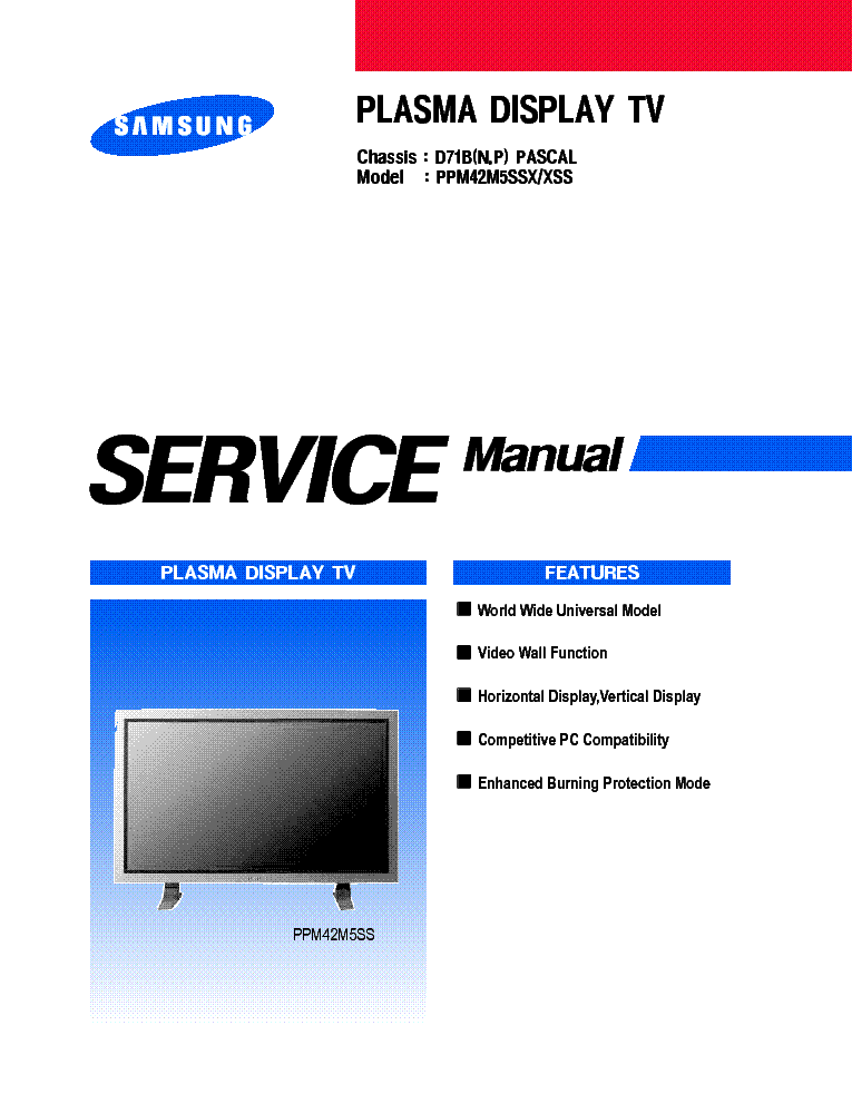 samsung d71b pascal chassis ppm42m5ssx plasma service manual rh elektrotanya com samsung plasma tv service manual pdf Samsung PN50B450B1DXZA Owners Manual PDF