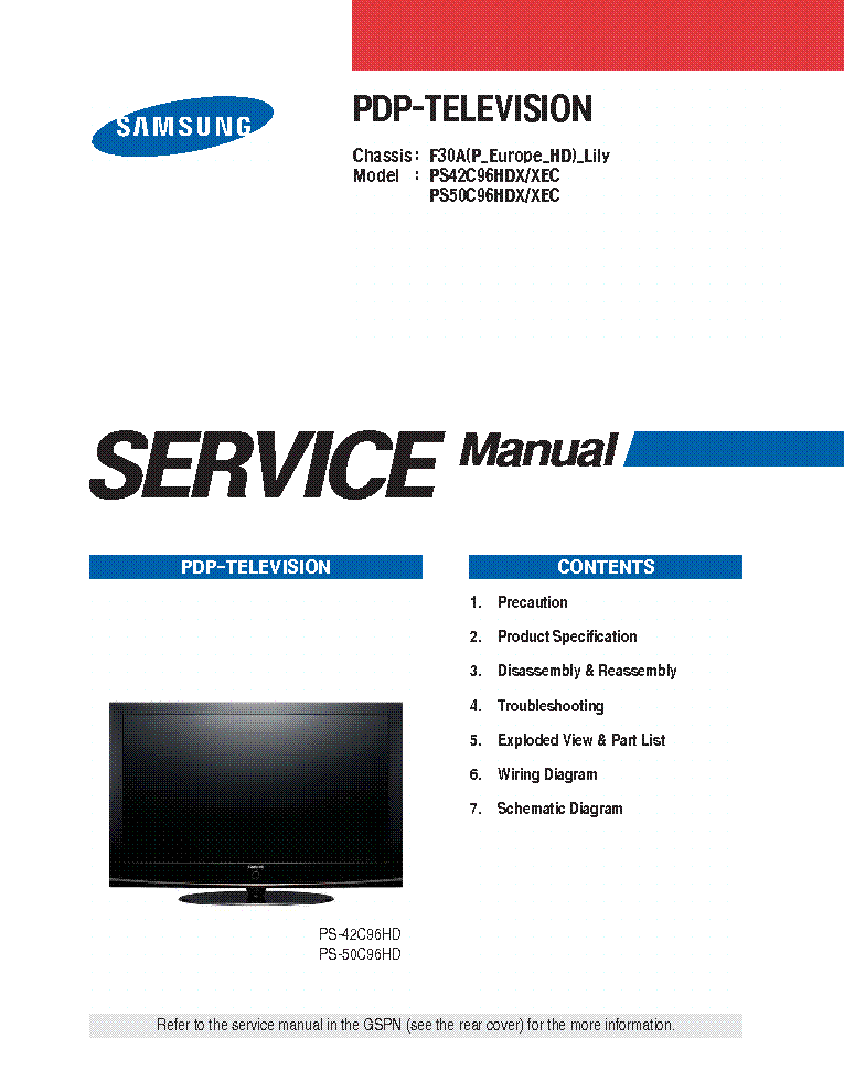 samsung f30a lily chassis ps42c96hdx ps50c96hdx plasma tv sm service rh elektrotanya com samsung plasma tv service manual pdf Samsung 64 Inch Plasma TV