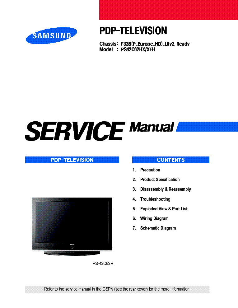 samsung f33b lily2 ready chassis ps42c62hx plasma tv sm service rh elektrotanya com Owner's Manual Auto Repair Manual