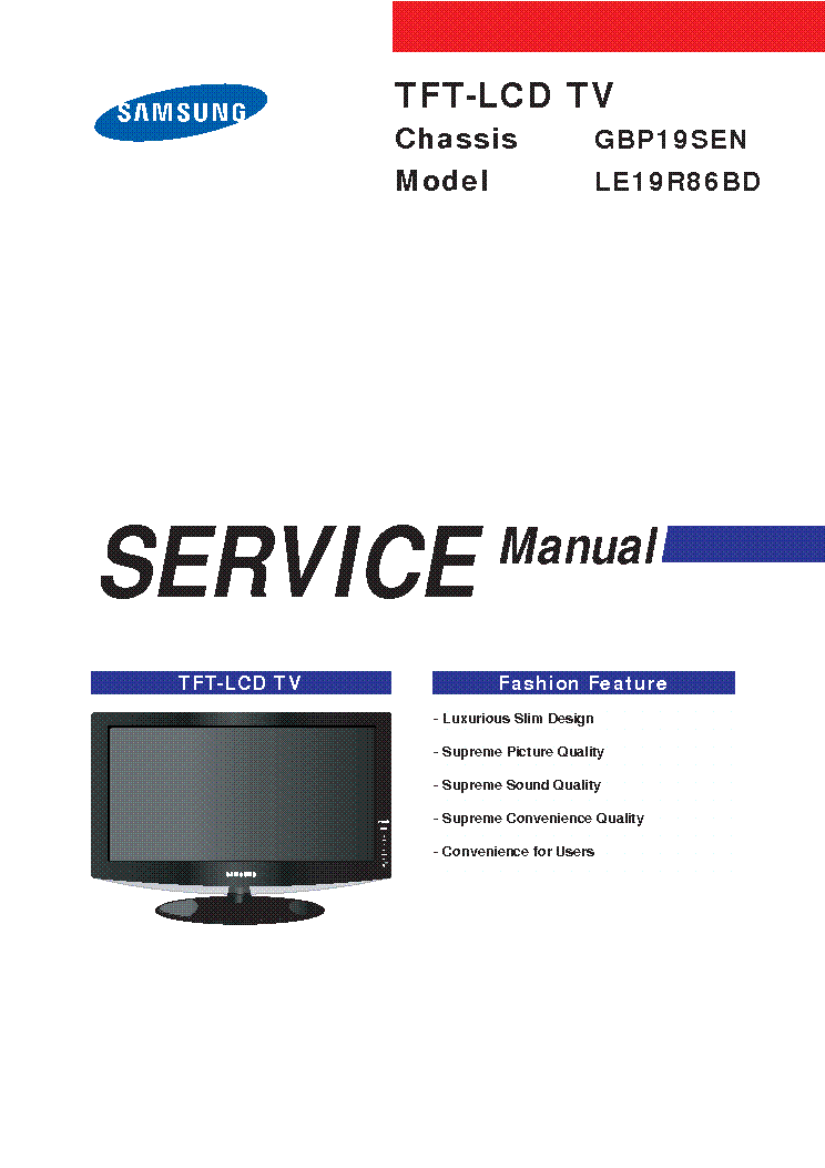SAMSUNG GB-19SEN CHASSIS LE19R86BD LCD service manual (1st page)