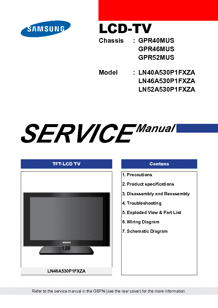 SAMSUNG GPR40MUS CHASSIS LN40A530P1FXZA LCD service manual