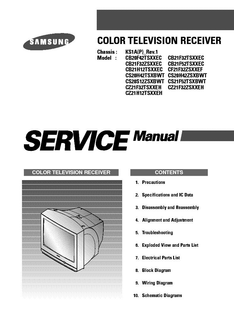 Samsung Ks1a Chassis Cb20f42tsxxec Tv Sm Service Manual